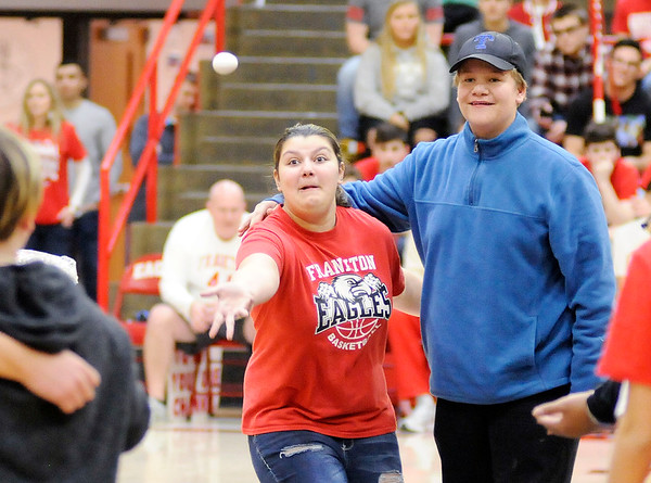 Don Knight | The Herald Bulletin<br /> Frankton students take part in an egg toss during a semi-state pep rally on Friday. Frankton and Shenandoah will be competing in the semi-state today. You can find a preview for both games in today's Sports section.