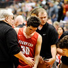 Don Knight | The Herald Bulletin<br /> Frankton's starters come out of the game in the final moments agianst Andrean in the semi-state at Lafayette Jeff on Saturday.