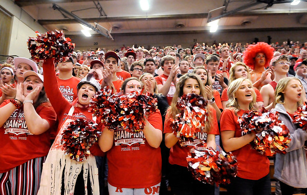 Don Knight   The Herald Bulletin<br /> Frankton's student section cheers for the Eagles as they are introduced before facing Andrean in the semi-state at Lafayette Jeff on Saturday.