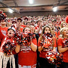 Don Knight | The Herald Bulletin<br /> Frankton's student section cheers for the Eagles as they are introduced before facing Andrean in the semi-state at Lafayette Jeff on Saturday.