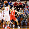 Don Knight | The Herald Bulletin<br /> Frankton's Will Whatley guards Andrean's Eric Kendrick in the semi-state at Lafayette Jeff on Saturday.