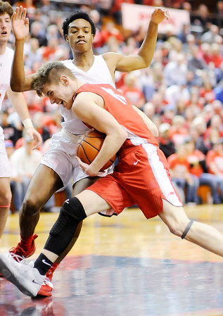Don Knight   The Herald Bulletin<br /> Frankton's Ethan Bates drives into the lane as the Eagles faced Andrean in the semi-state at Lafayette Jeff on Saturday.