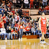 Don Knight | The Herald Bulletin<br /> Frankton's Kayden Key looks skyward as Andrean stepped to the free throw line in the closing moments of the semi-state at Lafayette Jeff on Saturday.