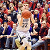 Richard Sitler | for The Herald Bulletin<br /> Shenandoah senior Evan Coers lines up a three-point shot during the second half. Shenandoah fell to Linton-Stockton 73-56 in the Seymour Semi-State on Saturday.