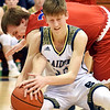 Richard Sitler | for The Herald Bulletin<br /> Shenandoah's Kaden McCollough and Linton's Samuel Robbins battle for control of the ball during the second half. Shenandoah fell to Linton-Stockton 73-56 in the Seymour Semi-State on Saturday.