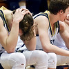 Richard Sitler | for The Herald Bulletin<br /> Shenandoah players on the bench react to the game slipping away as time runs out during the fourth quarter. Shenandoah fell to Linton-Stockton 73-56 in the Seymour Semi-State on Saturday.
