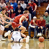 Richard Sitler | for The Herald Bulletin<br /> Shenandoah junior Peyton Sparks dives to the floor for a loose ball as his teammates Evan Coers and Jakeb Kinsey also react to try to get possession away from Linton's Samuel Robbins and Tucker Hayes during the second half. Shenandoah fell to Linton-Stockton 73-56 in the Seymour Semi-State on Saturday.
