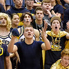 Richard Sitler | for The Herald Bulletin<br /> Raider fans in the student section react to a call during the second half. Shenandoah fell to Linton-Stockton 73-56 in the Seymour Semi-State on Saturday.
