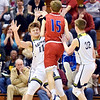 Richard Sitler | for The Herald Bulletin<br /> Shenandoah junior Peyton Starks draws a foul from Linton's Lincoln Hale during the second half. Shenandoah fell to Linton-Stockton 73-56 in the Seymour Semi-State on Saturday.