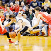 Don Knight | The Herald Bulletin<br /> Frankton's Landon Weins, left, and Patrick Spillman pressure Marquette Catholic's Buddy Jaffee during the semi-state at Lafayette Jeff on Saturday.