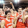Don Knight | The Herald Bulletin<br /> Frankton celebrates after beating Marquette Catholic to win the semi-state at Lafayette Jeff on Saturday.