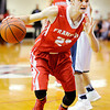 Don Knight | The Herald Bulletin<br /> Frankton's Keegan Freestone drives to the basket as the Eagles faced Marquette Catholic in the semi-state at Lafayette Jeff on Saturday.