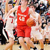 Don Knight | The Herald Bulletin<br /> Frankton's Rylan Detling drives the baseline as the Eagles faced Wapahani in the Class 2A Sectional 40 final at Elwood on Saturday.