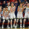 Players on the Shenandoah bench celebrate after their teammate Kaden McCollough connected on a shot to give the Raiders a 10-5 lead during the first quarter over the Howe Hornets in the IHSAA 2A Boys Basketball Sectional 42 final at Knightstown on Saturday. Shenandoah defeated Indianapolis Howe 66-50 to win the championship. Richard Sitler photo