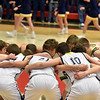 The Shenandoah Raiders huddle before the start of the IHSAA 2A Boys Basketball Sectional 42 final at Knightstown on Saturday. Shenandoah defeated Indianapolis Howe 66-50 to win the championship. Richard Sitler photo