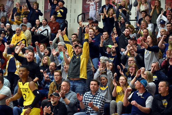 Shenandoah Raider fans celebrate after Jakeb Kinsey hit a three to give the Raiders the lead during the second quarter in the IHSAA 2A Boys Basketball Sectional 42 final at Knightstown on Saturday. Shenandoah defeated Indianapolis Howe 66-50 to win the championship. Richard Sitler photo