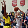Shenandoah's Jakeb Kinsey takes the ball to the basket during the fourth quarter in the IHSAA 2A Boys Basketball Sectional 42 final at Knightstown on Saturday. Shenandoah defeated Indianapolis Howe 66-50 to win the championship. Richard Sitler photo