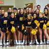 Cheerleaders and members of the student section wait for the team to come over to celebrate the Shenandoah's sectional championship over Indianpolis Howe Hornets on Saturday at Knightstown. Richard Sitler photo