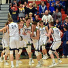 The Shenandoah Raiders celebrate as they defeat the Indianapolis Howe Hornets 66-50 to win the sectional championship at Knightstown on Friday. Richard Sitler photo