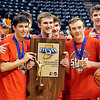John P. Cleary |  The Herald Bulletin<br /> Members of the Frankton Eagles show off their victory hardware after defeating the Crawford County Wolfpack 60-32 in the IHSAA 2A Boys Basketball Championship Saturday.
