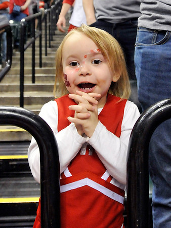 John P. Cleary |  The Herald Bulletin<br /> Frankton fan Chesni Hutton, 3, cheers her Eagles on to victory in the 2A State Finals.