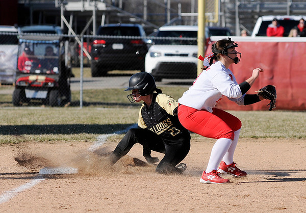 Don Knight   The Herald Bulletin<br /> Lapel's Kylie Rich slides safely into third as the Bulldogs traveled to Frankton on Tuesday.