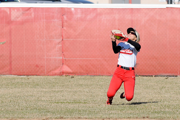 Don Knight | The Herald Bulletin<br /> Frankton's Brooke Campbell catches a fly ball in right field as the Eagles hosted the Lapel Bulldogs on Tuesday.