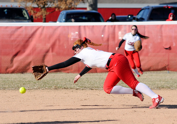 Don Knight | The Herald Bulletin<br /> Frankton short stop Laikyn Lowe dives for the ball as the Eagles hosted the Lapel Bulldogs on Tuesday.