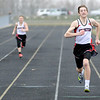 Don Knight | The Herald Bulletin<br /> Zach Davenport, right, and Braydon Slayton finish first and second for Frankton in the 200 meter dash at Lapel on Wednesday.