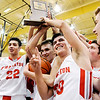 Don Knight | The Herald Bulletin<br /> The Frankton Eagles hold their sectional trophy in the air after defeating the Bulldogs to win the sectional championship at Lapel on Saturday.