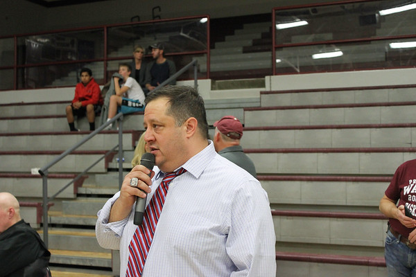 Chris Martin for The Herald Bulletin.  Liberty Christian head coach Jason Chappel addresses the Liberty fans Saturday night at Wes-Del.