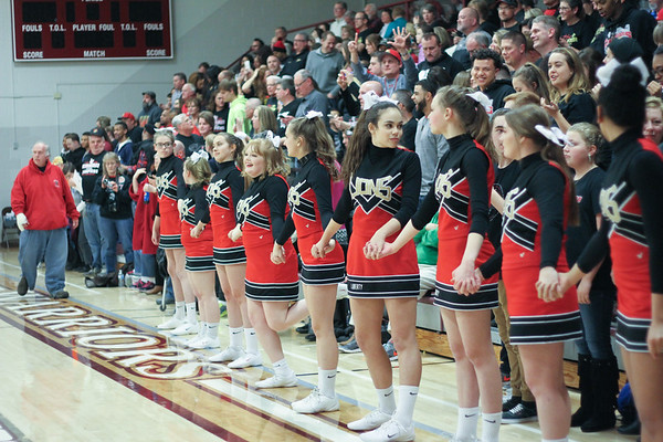 Chris Martin for The Herald Bulletin.  Liberty Christian's cheerleaders look on as Liberty Christian wins the Class 1A Sectional Championship Saturday night at Wes-Del.