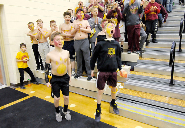 Don Knight | The Herald Bulletin<br /> Alexandria fans cheer as the team is introduced in the first round of the regional at Lapel on Saturday.