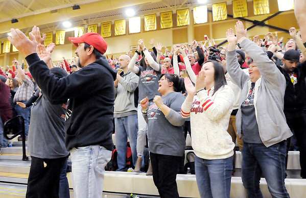 Don Knight   The Herald Bulletin<br /> Frankton fans react as the Eagles win their first round regional matchup against Wabash at Lapel on Saturday.