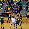 Andrew Bennett attempts a free throw for the Raiders during the fourth quarter of the regional final at Greenfield on Saturday. Shenandoah defeated Northeastern 42-37 to win the regional championship.