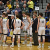 The Shenandoah Raiders talk it over during a fourth quarter timeout during the regional final at Greenfield on Saturday. Shenandoah defeated Northeastern 42-37 to win the regional championship.