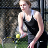 John P. Cleary | The Herald Bulletin  <br /> Lapel vs Alexandria in the County Tennis Tourney. Lapel's Lauren Benagh returns a shot at the net in her no. two singles match.