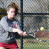John P. Cleary | The Herald Bulletin  <br /> Lapel vs Alexandria in the County Tennis Tourney. Alexandria's Blaine Kelly returns a shot in her no. 1 singles match against Lapel's Maddie Shannon.
