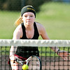 John P. Cleary | The Herald Bulletin  <br /> Lapel vs Alexandria in the County Tennis Tourney. Alexandria's no. 3 singles, McKenzie Adams, plays the net during her match.