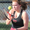John P. Cleary | The Herald Bulletin  <br /> Lapel vs Alexandria in the County Tennis Tourney. Alexandria's no. 2 singles player, Lindsie Chaplin, keeps her eyes on the ball as she hits a forehand shot.