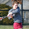 John P. Cleary | The Herald Bulletin  <br /> Lapel vs Alexandria in the County Tennis Tourney. Alexandria's Blaine Kelly returns a shot in her no. one singles match against Lapel's Maddie Shannon.