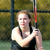 John P. Cleary | The Herald Bulletin  <br /> Lapel vs Alexandria in the County Tennis Tourney. Alexandria's no. 2 singles player, Lindsie Chaplin, follows her shot over the net.