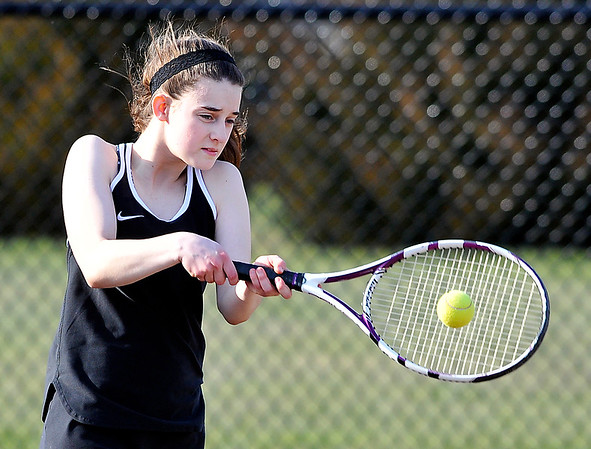 John P. Cleary | The Herald Bulletin  <br /> Lapel vs Alexandria in the County Tennis Tourney. Lapel's no three singles, Bailey Baxter, returns a shot in her match.