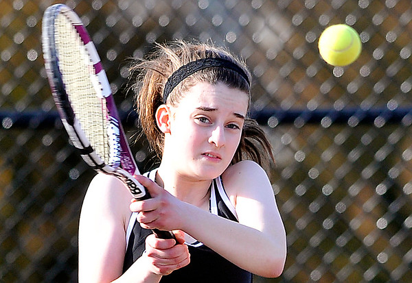 John P. Cleary   The Herald Bulletin  <br /> Lapel vs Alexandria in the County Tennis Tourney. Lapel's no three singles, Bailey Baxter, returns a shot in her match.