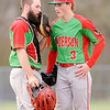 Don Knight | The Herald Bulletin<br /> Anderson catcher Cameron McGlothlin goes out to the mound to talk to pitcher Tristen Brooks as the Indians faced the Lapel Bulldogs on Thursday in the semifinal round of the Nick Muller Memorial Baseball Tournament.