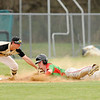 Don Knight   The Herald Bulletin<br /> Lapel's Deyton Buck tags Jordan Harris out at third during the semifinal round of the Nick Muller Memorial Baseball Tournament on Thursday.