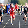 Don Knight | The Herald Bulletin<br /> Anderson's Avery Malone wins the 100 dash during the Madison County Track Tournament at Madison-Grant on Friday.