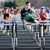Don Knight | The Herald Bulletin<br /> Pendleton Heights' Seth Ledford wins the 110 hurdles during the Madison County Track Tournament at Madison-Grant on Friday.