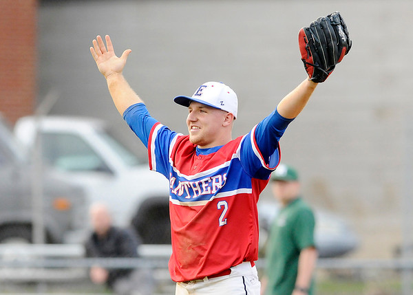 Don Knight | The Herald Bulletin<br /> Elwood pitcher Jake Wilson reacts after the Panthers defeated Pendleton Heights 1-0 to win the Nick Muller Memorial Tournament on Friday at Memorial Field.