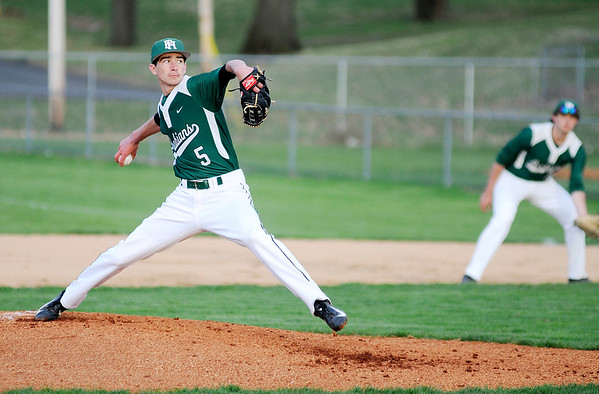 Don Knight | The Herald Bulletin<br /> Walker Stull pitches for the Pendleton Heights Arabians as they faced the Lapel Bulldogs in the Nick Muller Memorial Tournament championship on Saturday.